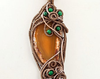 OOAK Agate and malachite wire wrapped pendant