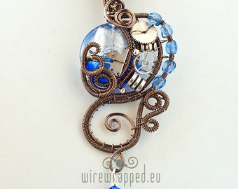 OOAK Blue and clear steampunk wire wrapped pendant