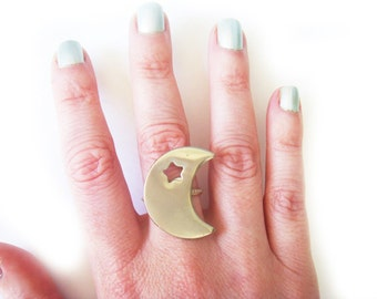 Silver Moon and Star Statement Ring - Moon Ring - Star Ring -Crescent Moon Ring