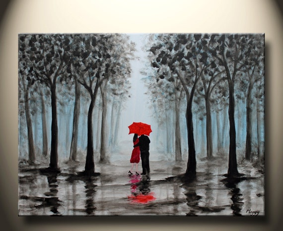 Original Painting Kissing In Rain Black White Redlove