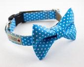 Blue Polka Dot Bowtie Dog Collar