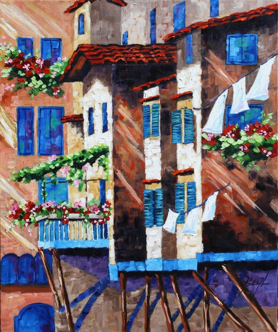 Florence Art Landscape Oil Painting Original Signed Modern Art on Canvas by rbealart 24 x 20 Impasto style