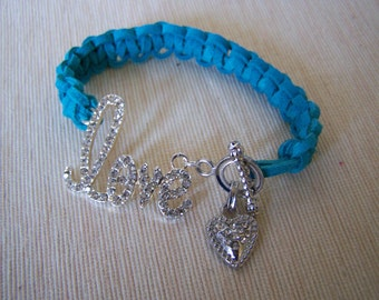 Macrame Love Bracelet Turquoise Suede Clearance