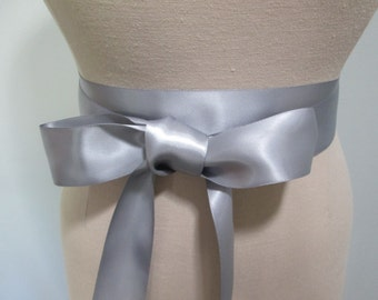 Silver gray Ribbon sash, wedding belt satin ribbon, bridesmaid wedding dress accessory