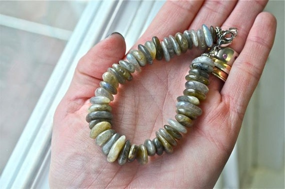 Men's Labradorite Bracelet with Stainless Steel Clasp and Blue Flash from North Atlantic Art Studio in Maine