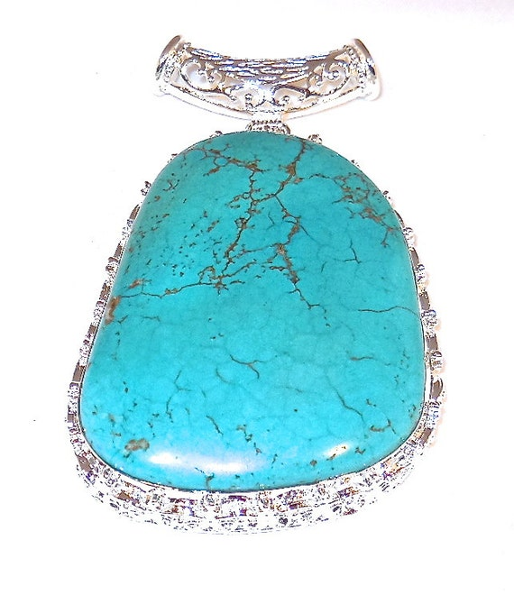 """CLEARANCE, Blue Turquoise stone .925 Sterling Silver Pendant, 46 grams, 3"""" and solid silver chain"""