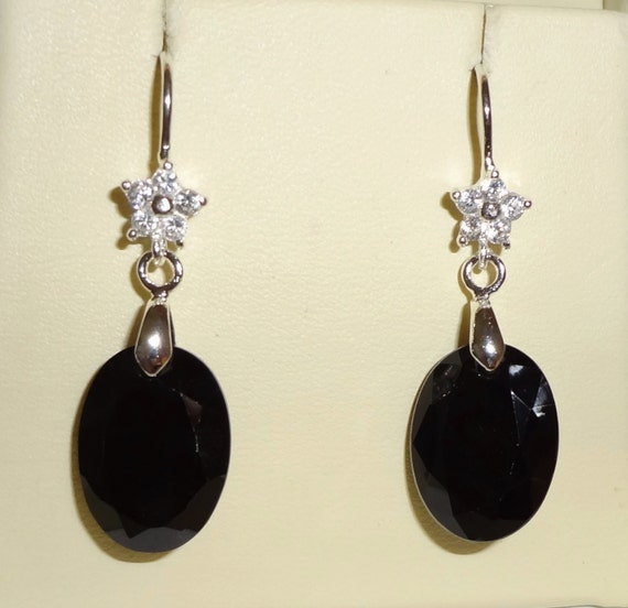 25cts Natural Oval faceted Black Sapphire stones, solid Sterling Silver, star CZ Pierced Earrings