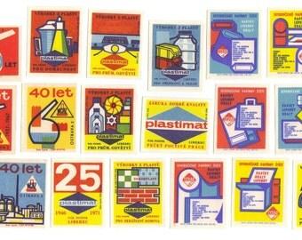 18 Vintage Matchbox Labels from Czech Republic - Set 24