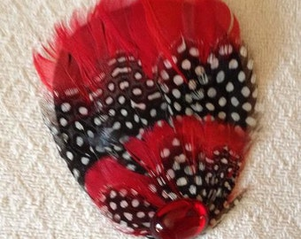 Red, Black and White Speckled Feather Fascinator with Crystal - Choose headband, barrette, comb or clip