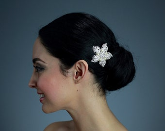 Rhinestone Flower Hair Clip with White/Ivory or Cream Swarovski Pearls OR Brooch Pin - Ready to ship in 3-5 Business Days