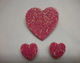 Heart Pin and Earring Set - Pink