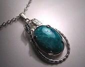 Vintage Chrysocolla Turquoise Necklace Retro Pendant