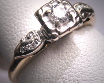 Antique Diamond Wedding Ring Vintage Art Deco .30ct 14K Engagement