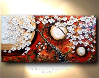 """Made to Order 72"""" Whimsical Sun Canvas Painting Abstract White Floral Flower Abstract Texture wall decor Artwork Hand made Fine art by OTO"""