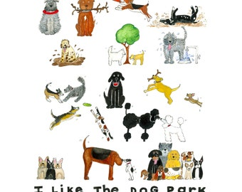 I Like the Dog Park 12 x 12 Print