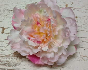 Silk Flowers - One Peony in Shades of Pink and Cream - 6 Inches - Artificial Flowers
