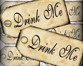 Drink Me Favor Tags Digital Collage Sheet DIY Weddings Alice In Wonderland Favor Tags Printable Download  256