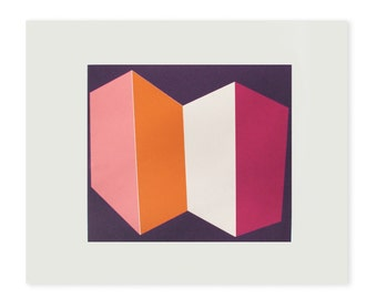 geometric screenprint. Handmade, hard edged ,colorblock original work in hot pinks and orange