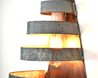 """LOFT V3 - """"Salita"""" Curved Wine Barrel Ring Wall Sconce - 100% Recycled"""