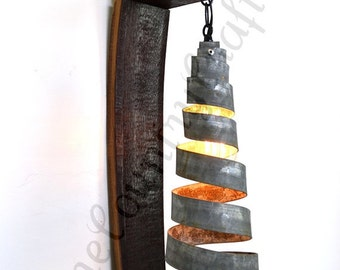 """TUSCAN - """"Capacious"""" - Wine Barrel Wall Sconce - 100% Recycled"""