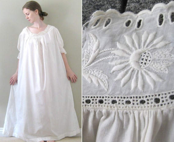 On Hold Romantic Antique White Cotton By Aquamarinedream