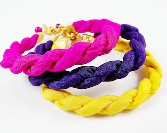 Instant Stacking Silk Bracelet Set -  Neon Pink, Yellow, Purple - Fashion - No:1