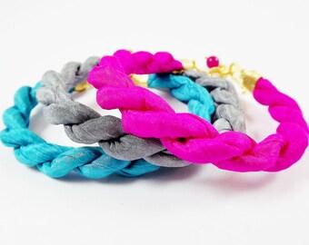 Instant Stacking Silk Bracelet Set -  Neon Pink, Turquoise, Grey Gray - Fashion - No:2
