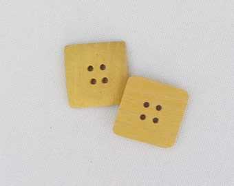 Wood Buttons One Inch Buttons Set of 9 Yellowheart Wood Buttons