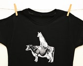 Wolf Cow, Women's Small, Medium, Large, Black T-shirt