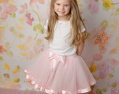 Four layer ribbon trim tutu -- big girl size--choose from 10 inch length or 12 inch length, fits ages 2 years to 6 years old
