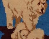 Vintage Handknit COWICHAN Polar Bear Big Lebowski Style Sweater - Rockabilly Swing Outdoors Bears Cubs Animals L or XL
