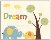 Nursery art prints, Baby Room decor, Nursery Art Decor, Kids Print..Inspiration quote..Dream, orange and blue nursery