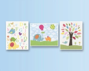Baby girl room, nursery wall art, set of 3 11x14 pink, baby blue, green and yellow tree, flowers, love bird, match to colors of Catalina