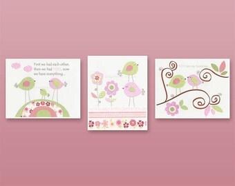 Baby Girl Room Ideas: Nursery wall Art Print For Girls, Baby Girl Room Decor / Love Bird Turtle Elephant // Set of 3 11x14 // Hayley Beddin