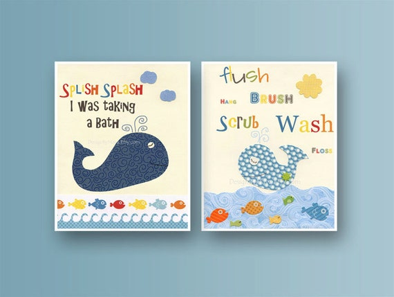 Bathroom print for kids nursery wall art bathroom decor kids for Bathroom decor etsy