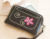SALE, Hand Sewn Leather Pouch in Black with Pink Flower