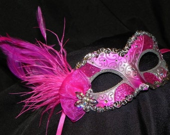 Feather Masquerade Mask in Shades of Pink