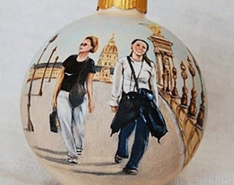 Portrait painting ornaments favorit holidays - 4 inch Christmas glass ornaments