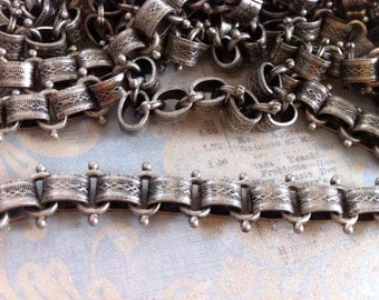 Book Chain Vintage Style High Quality Antique Silver plated Vintage reproduction wide patterned link Book chain