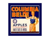 Small Journal - Columbia Belle Apples- Fruit Crate Art Print Cover