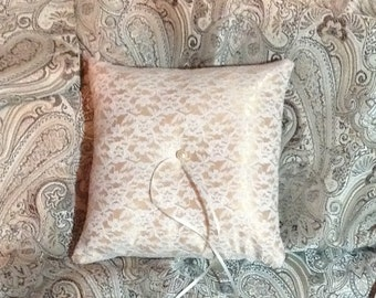 Ivory lace on gold satin ustom made pillow
