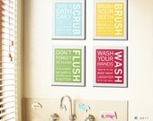 Bathroom art prints. Bathroom Rules. Kids bathroom wall quotes. Wash Brush Floss Flush. Typography. Set of 4 art  prints by WallFry