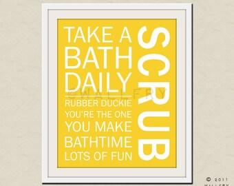 Bathroom art. Kids Bathroom rules. Bathroom prints bathroom art. Typography.  Bathroom print by WallFry
