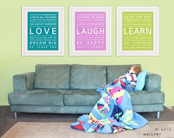 Kids wall art Children artwork. Inspirational Typography art for kids. Playroom wall quotes. SET OF 3 inspiration prints by WallFry