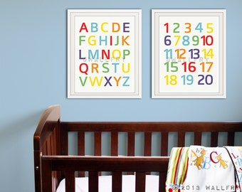Modern Alphabet prints. Nursery art, Nursery wall art ABC poster. Children wall art SET OF 2 alphabet prints by WallFry
