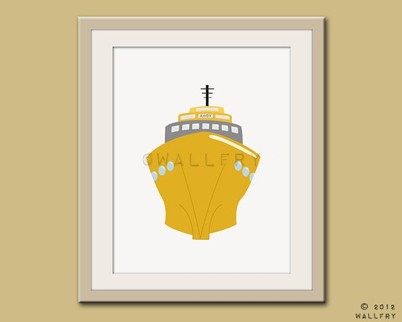 Nursery Wall Decor Transportation : Transportation decor boat print wall art for nautical nursery