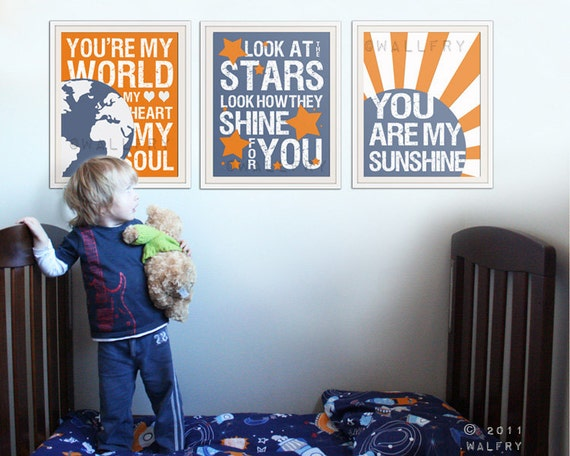 Song Lyric Wall Art kids wall art. song lyric prints for nursery and playroom.