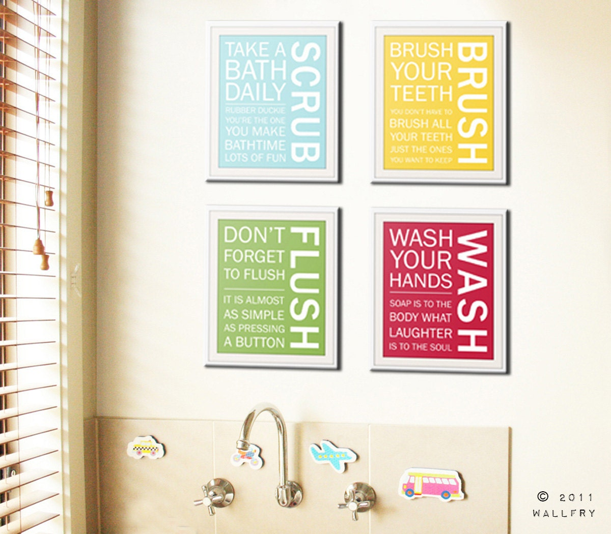 Bathroom art prints bathroom rules kids bathroom wall for Bathroom wall decor ideas