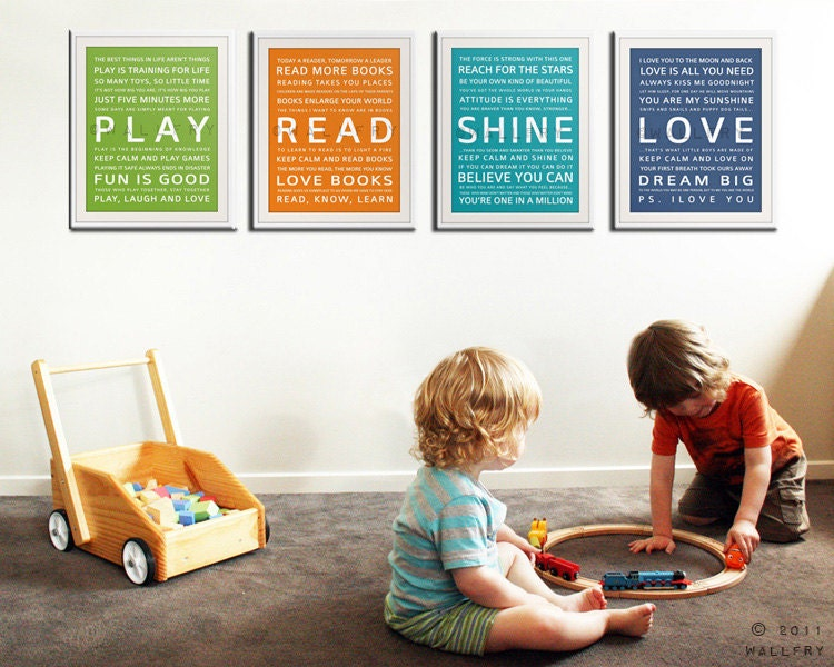 Children S And Kids Room Ideas Designs Inspiration: Typography Art Prints For Kids Playroom Art. Kids Wall Art
