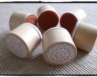 Rubber Stamp Set - Lace / Circle, Doily, Pattern, Wedding Stamp, Round, Wooden // Set of 6